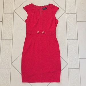 Red Enfocus Studio interview dress with gold chain